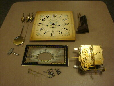 Vintage New England Clock Co USA PARTS MOVEMENT Face Pendulum Hands For Repair