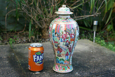 Antique Chinese Porcelain Hand Painted Famille Rose Vase with Lid