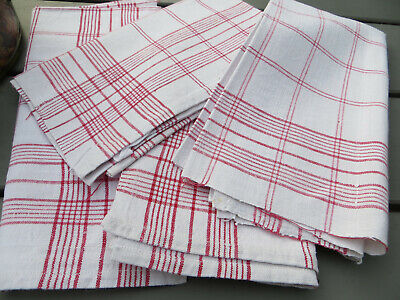 """4 (Four ) Handwoven Linen Towels Red Stripes  21 """" by 21 """"  US-$ 43.90"""