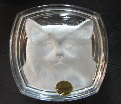 French CRISTAL d ARQUES Lead Crystal FROSTED CAT DRESSER TRINKET BOX    EXC