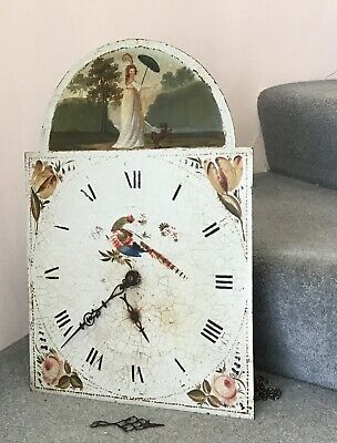 Large Antique Long Cased / Grandfather Clock Face with Movement