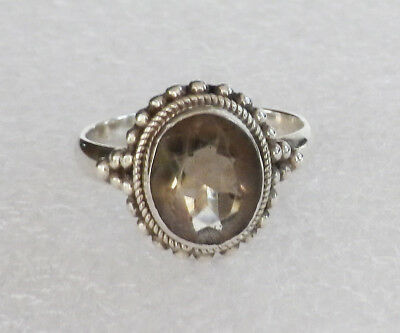 925 Sterling Silver Faceted Smoky Quartz Gemstone Ring   Size  9   4.6 grams