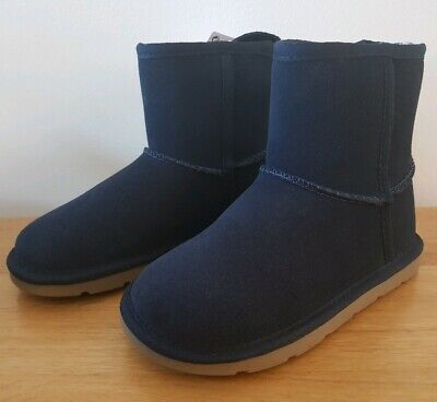 BNWT - Girls M&S Fur Lined NAVY Suede Leather Ankle PULL ON  - Boots SIZE 11