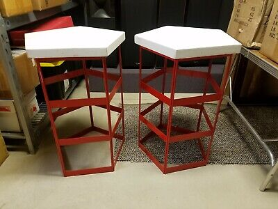 Lot of 3 Red Metal Product Display Stands-Used