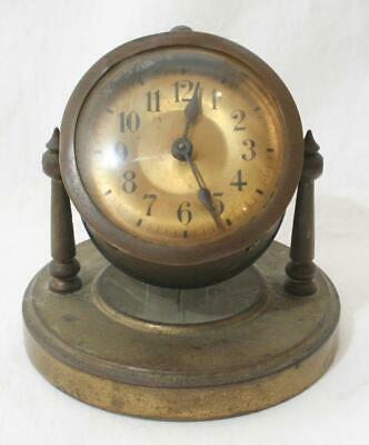 Small Antique Vintage Brass Swivel Desk or Bedside Clock Working Order