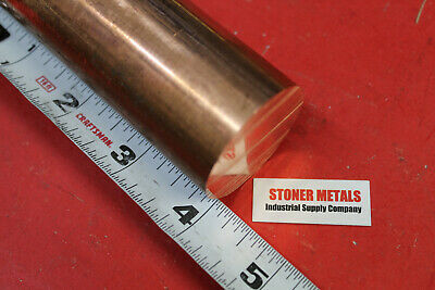 "1-1/2"" Diameter C110 COPPER ROUND ROD 4"" long H04 Solid CU New Lathe Bar Stock"