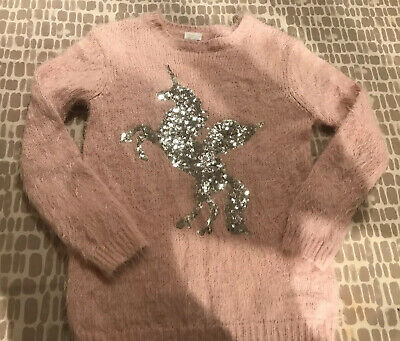 Girls Pink Fluffy Unicorn Jumper 11-12yrs From F&F Great Cond!