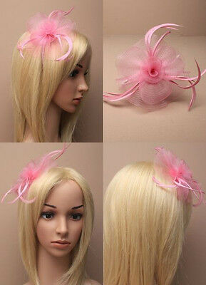 Pink Looped Net & Feather Fascinator on Alice Band - Wedding Races Prom