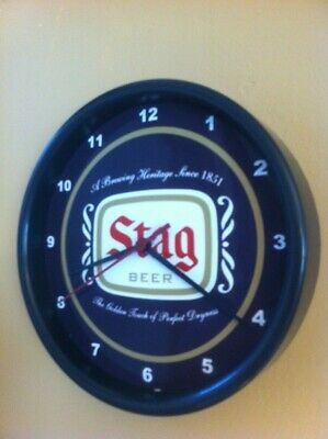 Stag Brewing Co. Beer Bar Man Cave Advertising Black Wall Clock Sign
