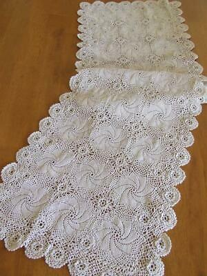 Beautiful Long Hand Crocheted Ecru Table Runner With Tiny Florets - 104 x 31 cm