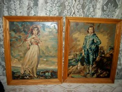 Paint By Numbers Pinkie Blue Boy Pbn Large Oak Frames Mid Century Vintage Rare