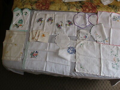 Lot Of 26 Vintage Embroidery,  Doiley, Place Mats, Napkins, Runner