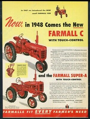 1948 International Harvester Farmall C Super A farm tractor pix vintage print ad