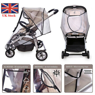 Universal Baby Pushchair Stroller Raincover Clear Rain Cover Pram Buggy Window