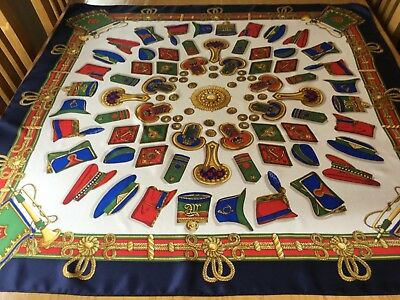 """RARE VINTAGE HAND STITCHED SILK SCARF.  HATS, EPAULETTES AND BUTTONS! 35"""" x 34"""":"""