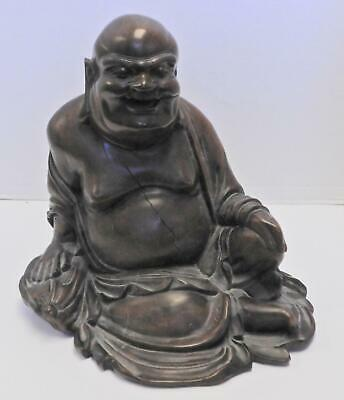 Antique Qing Dynasty Chinese Carved Rose Wood Laughing Buddha God of Happiness