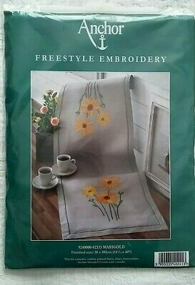 *** Anchor Marigold Flowers Embroidery Table Runner Kit ***