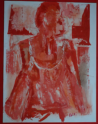 "Robert Calix (1919/2008) Gouache - "" Portrait of Woman "" Signed"