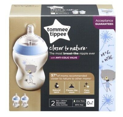 Tommee Tippee Closer to Nature 260 ml/ 9fl oz Feeding Baby Bottles (2-pack) NEW