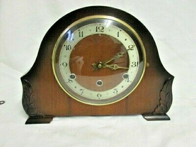 A Perivale Walnut Westminster Quarter Chime Mantel Clock Need Attention