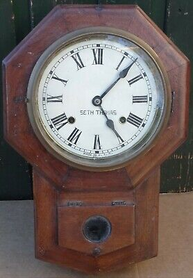 Good Old Small Seth Thomas Wooden Drop Dial Wall Clock