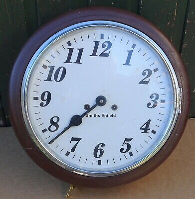 Old Looking Large Wooden Round Smiths Enfield Wall Clock