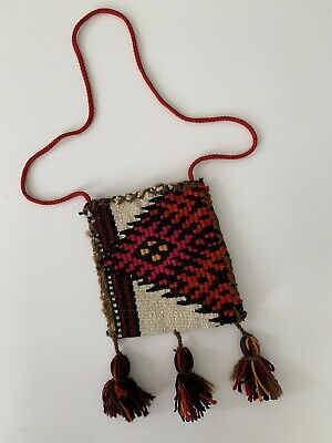 Vtg Hand Woven Indian Native American Wool Boho Hippie Crossbody Handbag Tassels