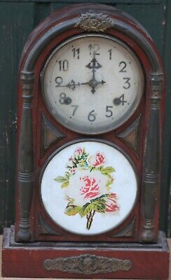 Old Unusual Large Wooden Mantle Clock With Brass Decoration