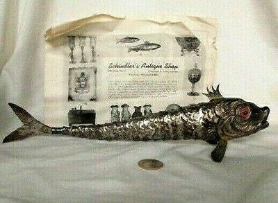 """Rare!  Antique Silver Art Deco Articulated Scaled Fish Red Eyes  13"""" From Spain"""