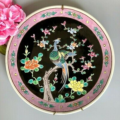 "Japanese Late Meiji Period Arita Charger 12"" Peacock Bird Peonies Pattern, Noir"
