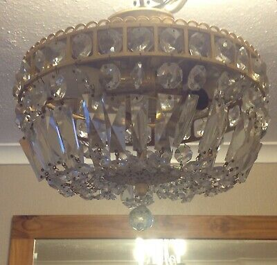 Antique Facet Cut Crystal Glass Basket Chandalier. Two Bulb Fitting #2