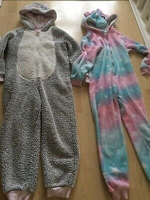 MARKS AND SPENCER Bundle 2 X Girls all In One PJS Pyjamas. Age 9 - 10 Years
