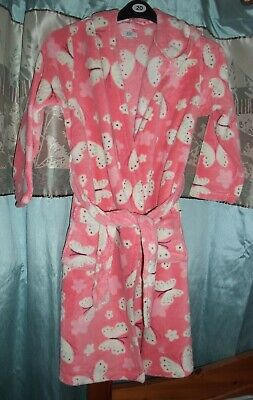 Girls F&F Pink Soft Cuddly Fleece Butterfly Dressing Gown age 11-12yrs
