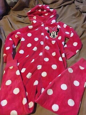 Next Girls Pink Minnie Mouse Fleece All In One Size 9 Years Good Condition