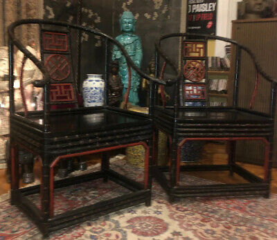 Oriental Antique Bamboo Wood Red & Black Chinese Arm Chair Pair 2 Chairs