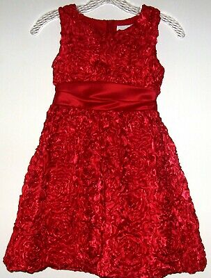 Rare Editions Girls Red Rosettes Party Dress - Size 8