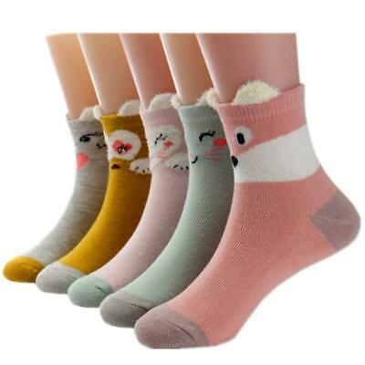 Little Girls Socks Cotton Animals Comfort Thick 5 Pair Pack 3-5 years, A