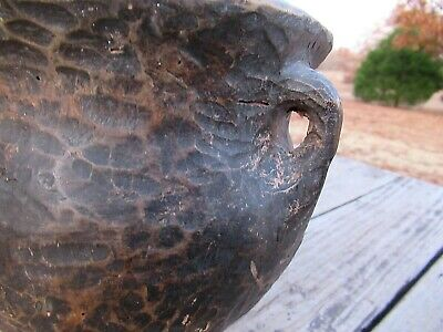 Primitive Hand Carved Wood Pot Nut Bowl Basket Holder Dish Folk Art Aafa