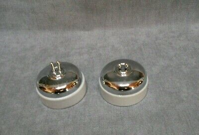 Pair of vintage French PORCELAIN & CHROME light SWITCHES