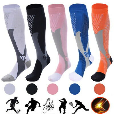 Mens Womens Compression Socks Running Anti Fatigue Foot Calf Support Stockings