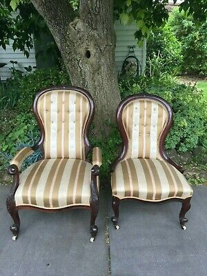 Matching Pair of Antique Victorian Mahogany Chairs!
