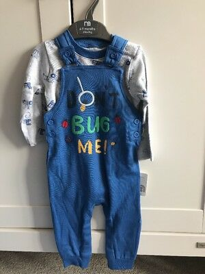 Mothercare Dungaree Long Sleeve Bodysuit Outfit Set 6-9mth BNWT Bugs Tractor NEW