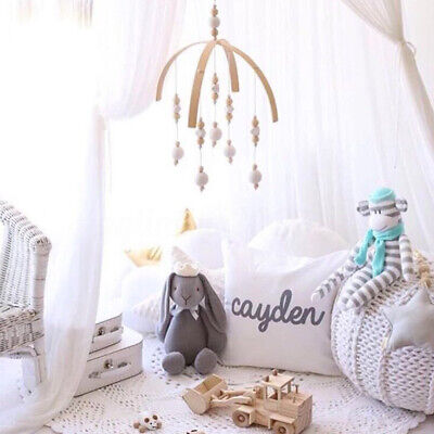 Baby Crib Mobile Bed Bell DIY Toy Holder Arm Bracket Nordic Hanging Wooden  ,