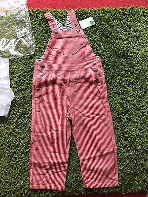NEW MINI Baby BODEN Red Stripe Dungarees Size 2-3 YRS BNWT Boys Girls Clothing