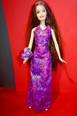 Barbie doll long brunette /purple hair in pink tag evening gown , flowers shoes