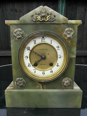 Antique 19th Century Onyx Mantle Clock / Southsea