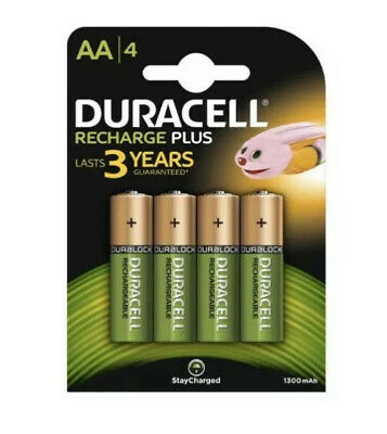 Duracell AA 1300 HR06 Rechargeable NiMH 1300mAh Capacity PRE & STAY CHARGED X 4