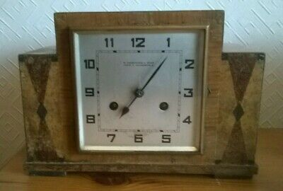 Vintage Art Deco Mantle Clock ,W Greenwood, Marquetry Wooden Case. Charity Sale