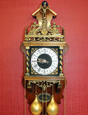 Old Zaanse Zaandam Warmink Wuba Dutch Antique Vintage Wall Clock 8 Day 62 cm XXL