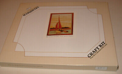 Vintage 1980s Wooden Marquetry Craft Kit Evening On The Broads - Unused Boxed